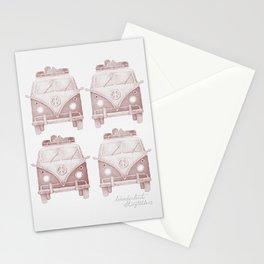 Pastel Vintage Van Pattern by Andrzej Ejmont | Red Vintage Van Pattern | Red Van | Boys Room Art Stationery Cards