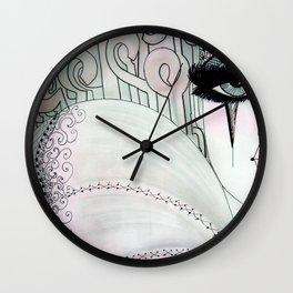 GREY PINK 80S PIERROT CLOWN HARLEQUIN ART DECO PRINT Wall Clock