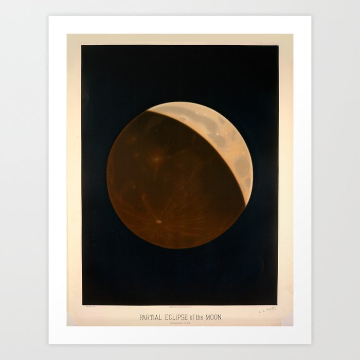 Partial eclipse of the moon by Étienne Léopold Trouvelot (1874) Art Print