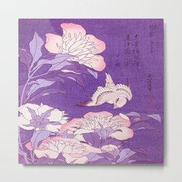 Japanese FLowers Purple Pink Metal Print