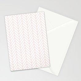 Pale Pink Herringbone Stationery Cards