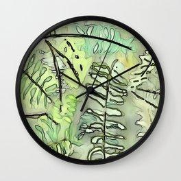 Digital Watercolor Painting of Mom's Royal Fern Wall Clock
