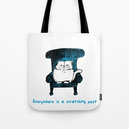 Everywhere is a Scratching Post (Blue) Tote Bag