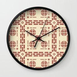 Mediterranean Pattern 8 - Tile Pattern Designs - Geometric - Red - Ceramic Tile - Surface Pattern Wall Clock