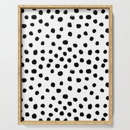 Preppy black and white dots minimal abstract brushstrokes painting illustration pattern print Serving Tray