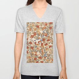 Autumn Orange Brown and Red Fall Leaves Collage Unisex V-Neck