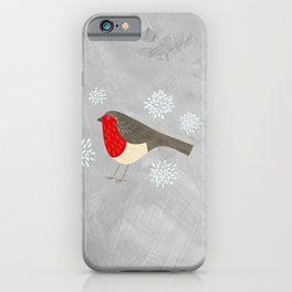 Robin and Snowflakes iPhone Case
