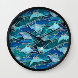 Patchwork Manta Rays in Sapphire and Turquoise Blue Wall Clock