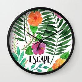 Escape - Tropical Watercolor Floral Wall Clock