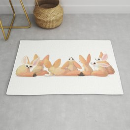 cute fennec foxes. Vector graphic character Rug
