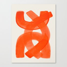 Mid Century Modern Abstract Painting Orange Watercolor Brush Strokes Leinwanddruck
