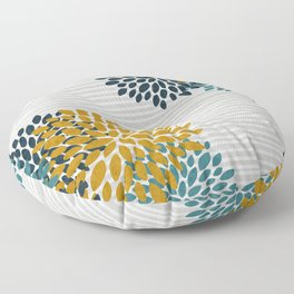 Floral Blooms and Stripes, Navy Blue, Teal, Yellow, Gray Floor Pillow
