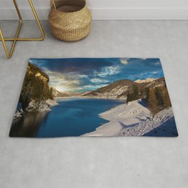 Swiss Alpine Winter Sunset Rug
