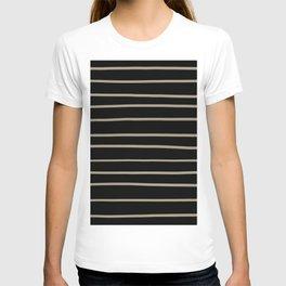 Pantone Twill Brown 16-1108 Hand Drawn Horizontal Lines on Black T-shirt