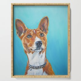 Basenji dog portrait an original fine art painting by L.A.Shepard Serving Tray