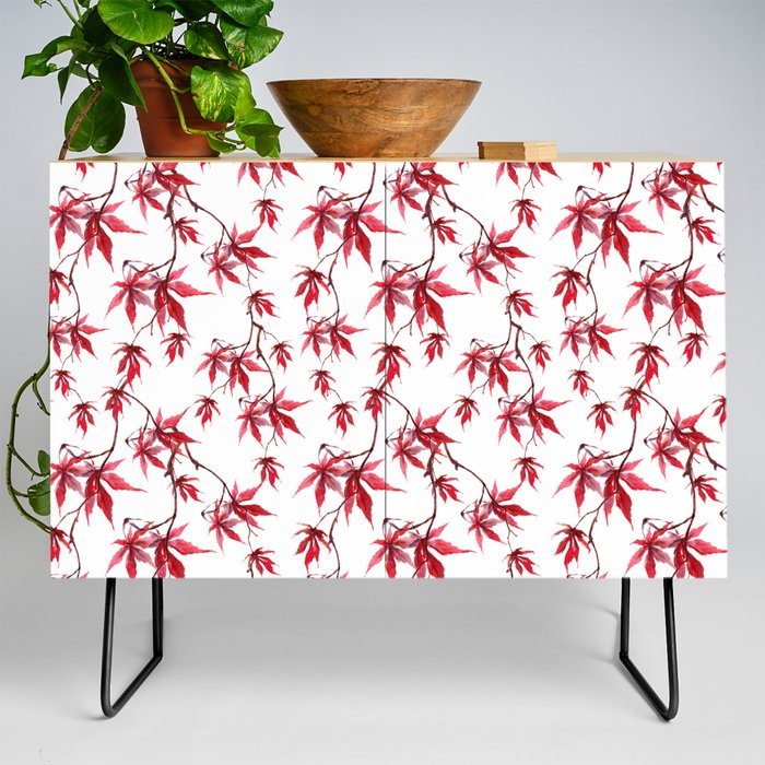 Watercolor Botanical Red Japanese Maple Leaves on Solid White Background Credenza