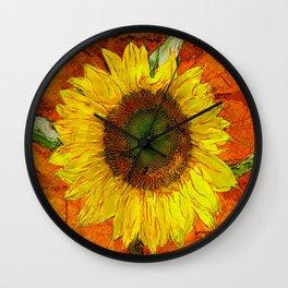 Sunflower Leaf Impression Wall Clock