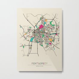 Colorful City Maps: Montgomery, Alabama Metal Print