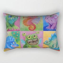 Baby Dragon Funny Monster Comic Illustration Painting for children Nursery decor Rectangular Pillow