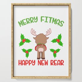 Merry Fitmas And Happy New Rear Christmas Design For December 25th T-shirt Design Jesus Carol Serving Tray