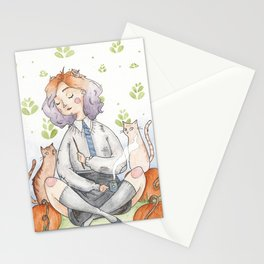 Ombre Watercolor Witch Stationery Cards
