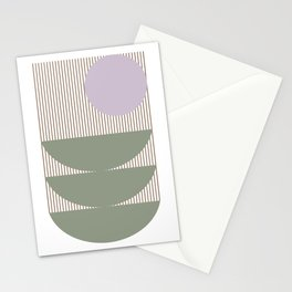 Lines and Shapes in Moss and Lilac Stationery Cards