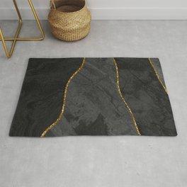 Organic Marbled Pattern Black Rug