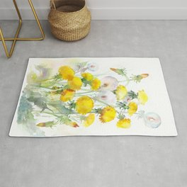 Watercolor yellow flowers dandelions Rug
