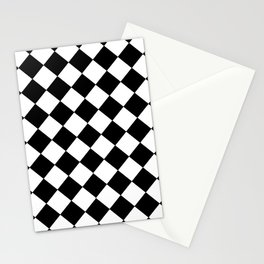 SMALL BLACK AND WHITE HARLEQUIN DIAMOND PATTERN Stationery Cards