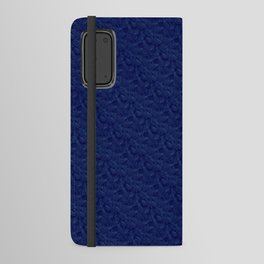 Muted '90s Fern Background Grid at Dusk – Deep Blue Android Wallet Case
