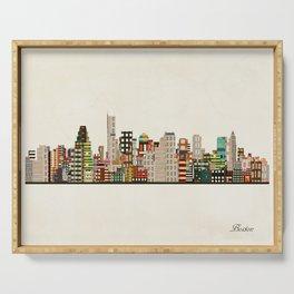 boston city skyline Serving Tray