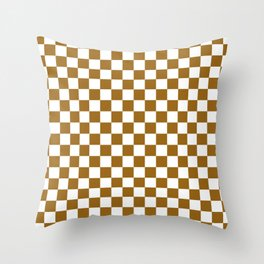 Small Checkered - White and Golden Brown Throw Pillow
