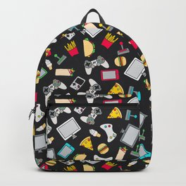 Gamer Video Game Controllers Fast Food Pattern Backpack