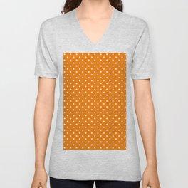 Dots (White/Orange) Unisex V-Neck