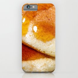 Detail of homemade pancakes wet with maple syrup iPhone Case