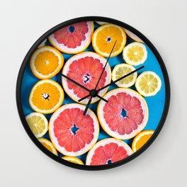 citruses : orange ,lemon and grapefruit Wall Clock