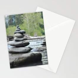 Rocks in balance in the Hoh Rainforest Stationery Cards