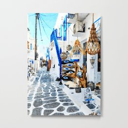 Mykonos Town Watercolor Art Metal Print