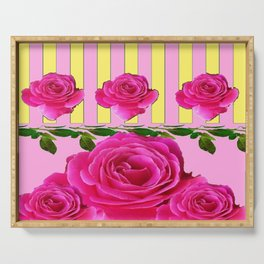 CERISE PINK SPRING  ROSE FLOWERS YELLOW STRIPES  PATTERN Serving Tray