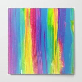 Rainbow Abstract Iridescent Painting - Neon Bright Metal Print
