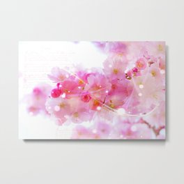 Japanese Sakura Tree with Pastel Pink Blossoms Metal Print