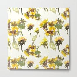Watercolor yellow gerbera artistic pattern design on lemon color Metal Print