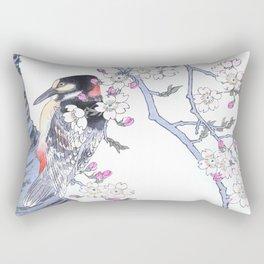 Woodpecker Sitting On A Cherry Tree - Antique Japanese Woodblock Print Art By Kono Bairei, 1883 Rectangular Pillow