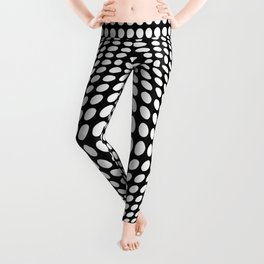 Black And White Victor Vasarely Style Optical Illusion Leggings