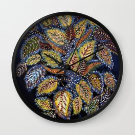 Blue Leaves of Autumn by Seraphine Louis Wall Clock