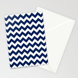 Navy and White Chevron Stripes Stationery Cards