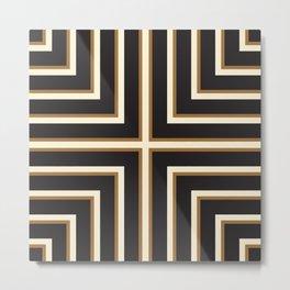 Black & Gold Stripes Metal Print