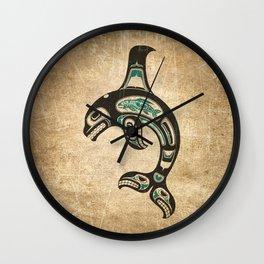 Blue and Black Haida Spirit Killer Whale Wall Clock