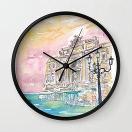 Rome Italy Trevi Fountain at Sunrise Wall Clock