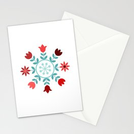 Scandinavian Style Flowers Teals & Reds Wheel Stationery Cards
